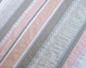 Handmade Patchwork Quilt - Baby Girl - Wedgewood Quilt - Pinks, cream, dusty blues and lace -