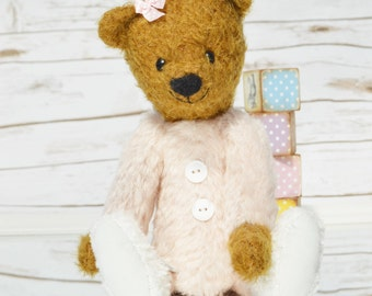 Baby Bear in pink pyjamas and slippers - mohair artist bear