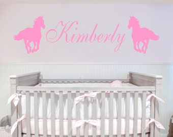 Custom Name and Horses Removable Art Vinyl Wall Decal Sticker Décor Baby Nursery