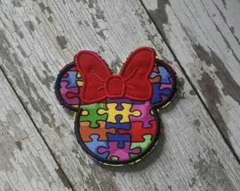 Autism Awareness Custom Number Minnie Mouse Inspired Applique Iron On Patch Medium Size 4x4!