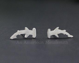 Sterling Silver Hammerhead Shark Earrings, Hammerhead Shark Earrings, Shark Jewelry, Ocean Earrings, Fish Earrings, Animal Post Earring