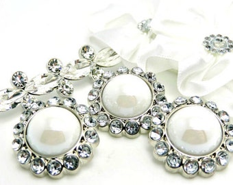 5 Rhinestone Pearl Buttons Acrylic Shiny White Pearl Buttons W/ Brilliant Clear Surrounding Rhinestones-26mm 3185-38P.