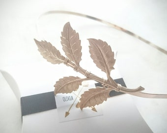 Gold Leaf Headband Grecian Leaf Headband Large Greek Leaf Headband Greek Goddess Grecian Hair Accessories Laurel Headpiece Wedding Headband