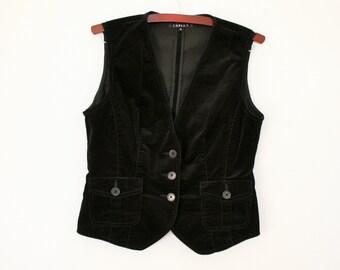 Black Velvet Vest Womens  Black Velveteen Waistcoat Size Medium to Large
