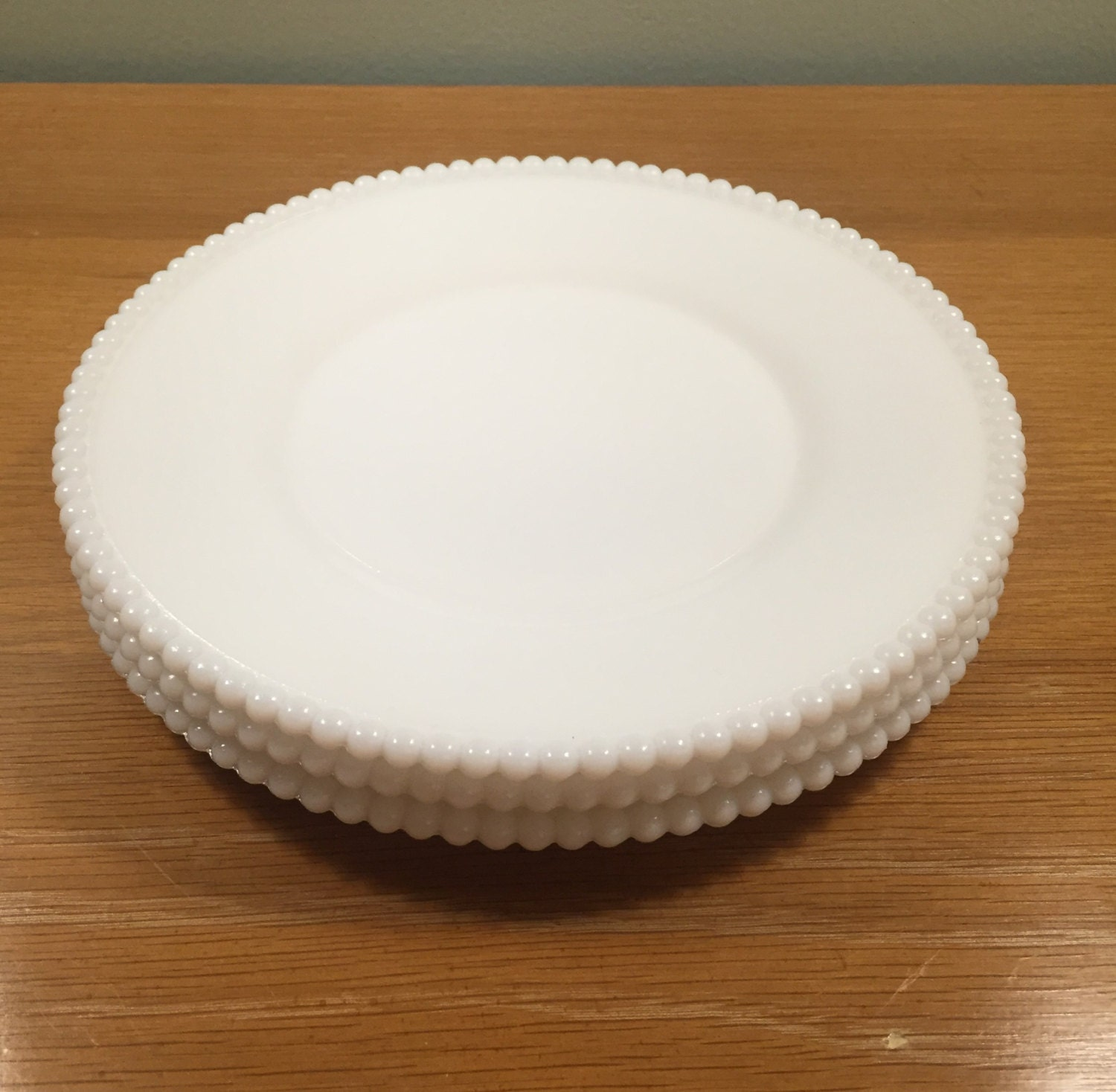 3 Westmoreland Beaded White Milk Glass Plates 8.5 Inch
