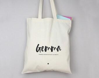 Hashtag Tote Bag - Monochrome - Personalised Bag - Shopping Bag - Grocery Bag - Book Bag