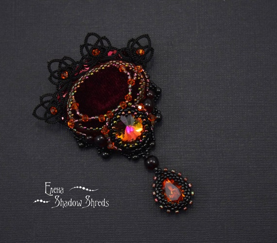 "Bead embroidered brooch ""Lucille"" Jewelry Handmade beaded brooch Seed bead brooch Beadwork brooch Black Embroidered jewelry Crimson Peak"