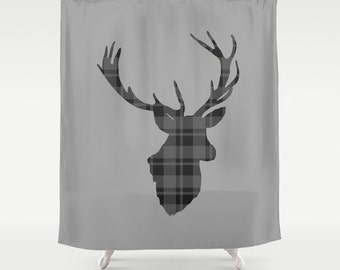 "Shower Curtain/Deer Silhouette Grey Plaid / MADE TO ORDER / Bath Curtain/Standard Length(71""x74"")"