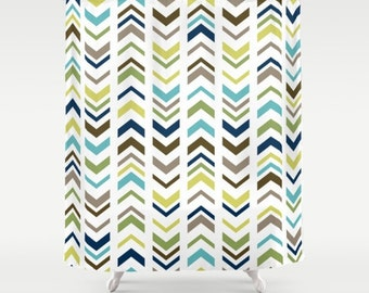"Geometric Lime Green Blue Brown Shower Curtain / Earth Tones / Bath Curtain/ Standard Length /(71""x74"") Made To Order"