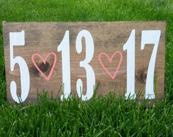 Custom wedding date - Rustic Wood Sign - engagement photo prop - home decor