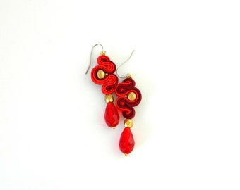 Dark red earrings, asymmetric earrings, red boho earrings, long drop earrings, bohemian jewelry, gift for her, golden earrings