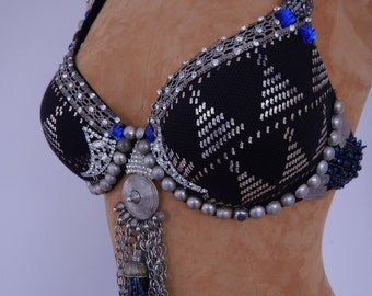 Assuit, Bra, Ready-To-Wear, , Assiut, Black, Antique Belly Dance Bra, Tribal Fusion , Tribaret