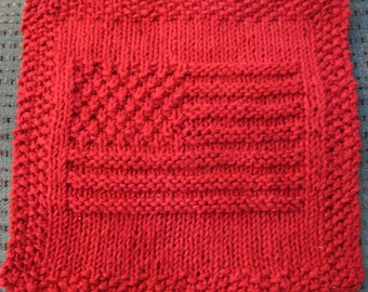 American Flag Knit Dishcloth Pattern Only *PDF Digital Download*