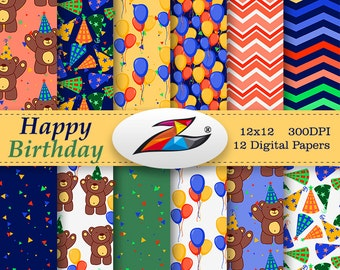 Sale Happy Birthday Digital Paper birthday party Balloon Digital Paper Printable Birthday commercial use colorful balloon pattern