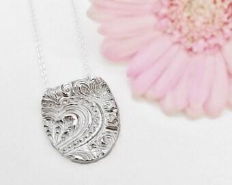 Fine Silver Heart Necklace, 25th Anniversary, Heart Necklace Silver, Handstamped Necklace, Recycled Silver Pendant, Eco Friendly Jewelry