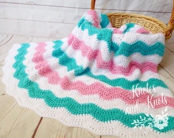 Baby crochet blanket - pink, turquoise and white baby blanket, crochet baby blanket, baby girl blanket, baby afghan
