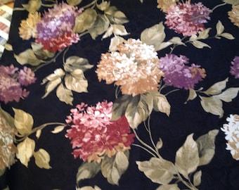 Ebony floral fabric, Home decor fabric, upholstery fabric, decorator fabric, l 1/4 yards, shabby chic drapery fabric
