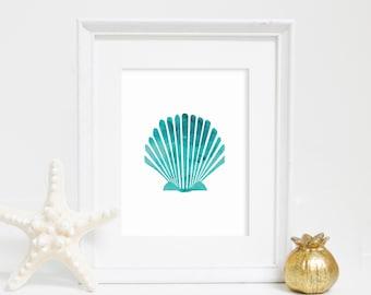 Shell Art Print, Digital Print, Watercolor Print, Sea Shell Print, Beach Decor, Instant Download, Office Decor, Printable Wall Art
