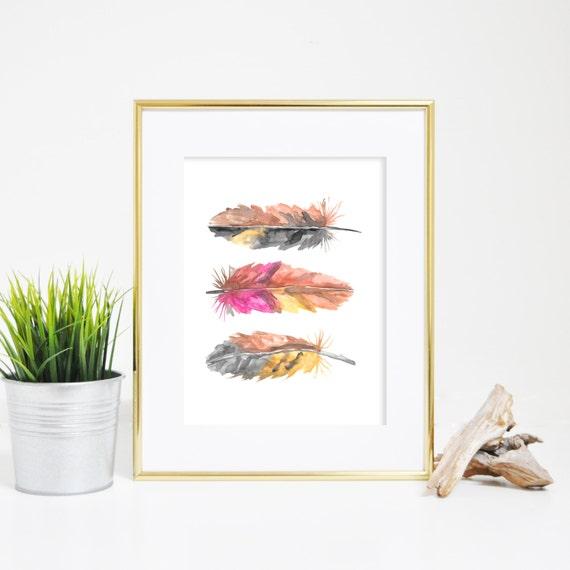 Office Decor, Nursery Artwork, Feather Wall Art, Watercolor Print, Printable Wall Art, Digital Downloads, Digital Prints, Feather Prints