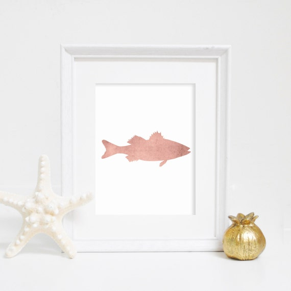 Fish Artwork, Rose Gold Print, Rose Gold Decor, Digital Print, Lake House Decor, Fashionista Art, Fashionista Print, Fish Print, Fish Art