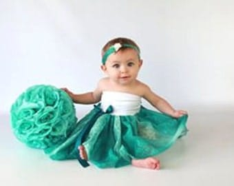Mommy Miss Lily Dress Photo Prop Teal Lace
