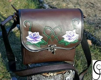 Roses White leather bag