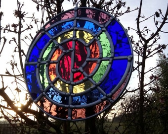 Stained Glass Chakra Rainbow Spiral - all year garden tree ornament - or indoors decoration / sun catcher