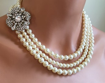Pearl Backdrop Necklace Set with Rhinestone brooch multi strand 3 strands Swarovski Pearls shown in Cream Ivory back drop wedding jewelry