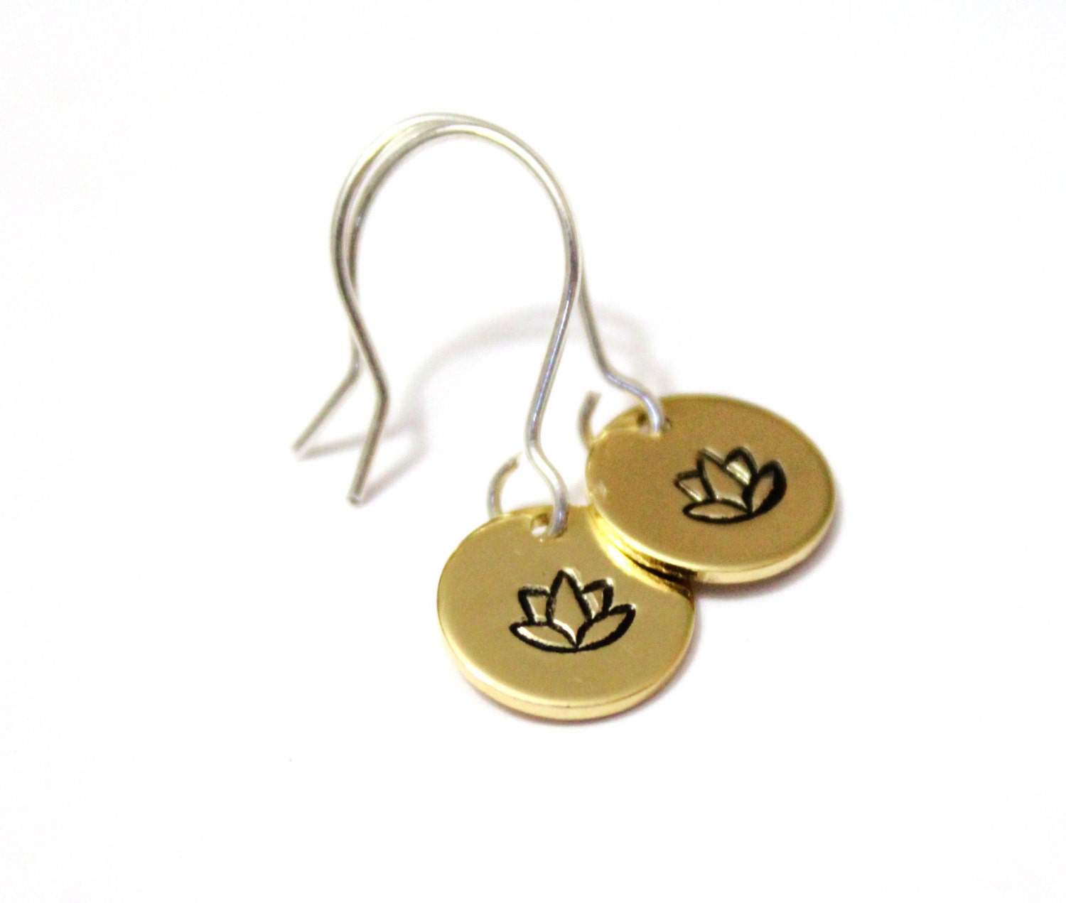 Tiny Gold Lotus Earrings Simple Yoga By BridesmaidsGiftNicol