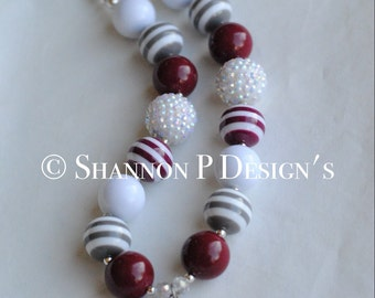 Texas Aggie chunky necklace / aTm chunky Necklace / Aggie necklace / Kids size shown.