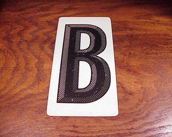 Vintage Black and White Letter B Metal Store Marquee Sign, 9 7/8 Inches Tall, Capital Letter, Shelf Display, Home Decor, Graphic