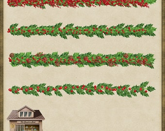 4 Holly and Berry Christmas Trims PNG *Instant Download*