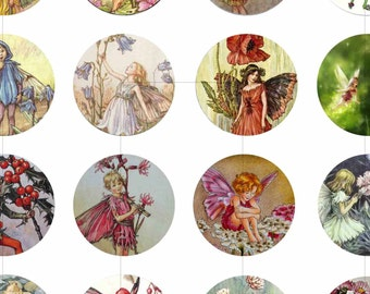 Digital Collage Sheet, Flower Fairy, Fantasy, Instant Download, Craft Supplies, 20mm 18mm 16mm 14mm 12mm Circles, dcc027s