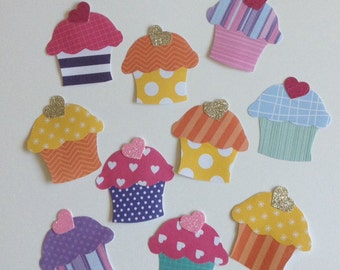 Bright cupcake embellishments, paper cupcakes, card making, tea party, kitchen tea decor, bridal shower decoration, set of 10