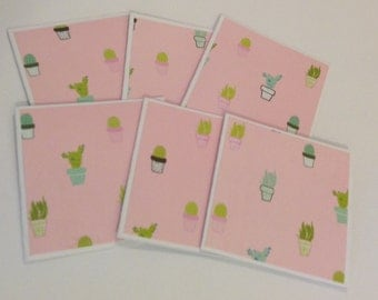 Cactus cards, cactus pattern, gift cards, mini cards, thank you cards, note cards, set of 6