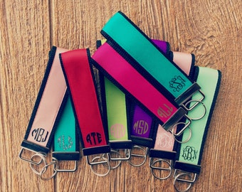 Solid Color Personalized / Monogram Key Fob / Wristlet Deeper Waters