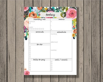 Daily Planner Printable, Planner Printable, Today Printable, To-Do List, Daily Calendar, Family Planner Printable, Printable Calendar.