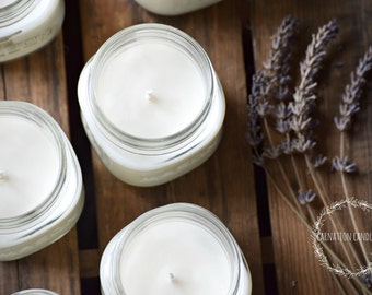 All natural lavender soy candle - 8 ounce or 16 ounce - mason jar candle