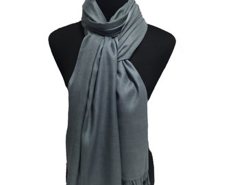 Grey-Pashmina Collection-Premium Quality-Viscose-Pashmina -Shawl- Scarf- Wrap-Soft-Warm-GIFT-Made in Indiawedding-bridal-bride