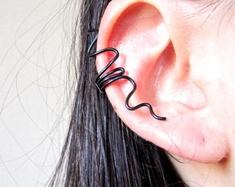 black ear ring , ripples aluminum wire
