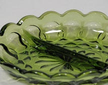 2 Part Relish dish in Fairfield Avocado Green by Anchor Hocking, divided bowl, two part bowl, green divided bowl, retro decor,