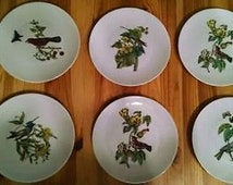 Set of Six Vintage 1970s BIRD PLATES by GDA Limoges France - with Hummingbird, Butterfly & Others - for Dessert or Salad - White Porcelain