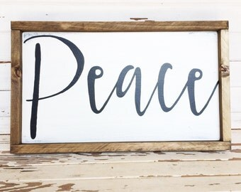 Peace hand painted wood sign with frame