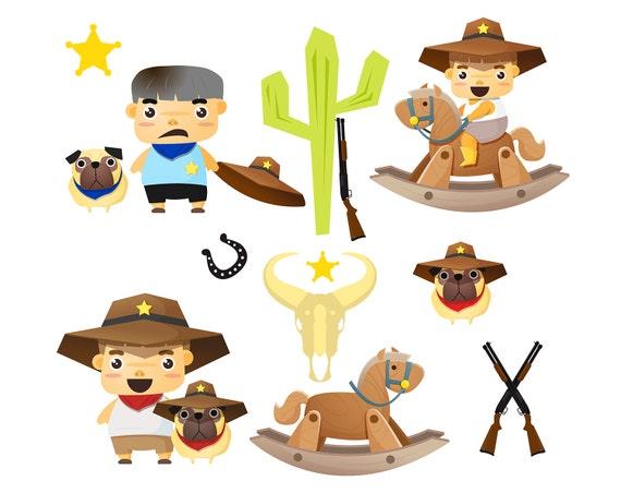 SALE! Cowboy Clipart Set Cowboys Clip Art Cute Little Boy