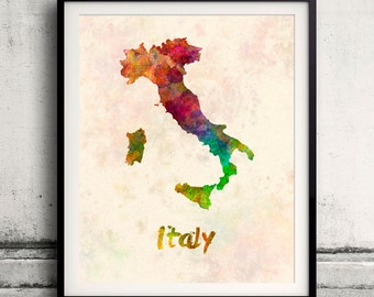 Italy - Map in watercolor - Fine Art Print Glicee Poster Decor Home Gift Illustration Wall Art Countries Colorful - SKU 1698