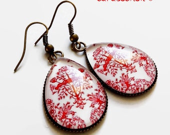 drop earrings * Red Chinese porcelain *, glass cabochon