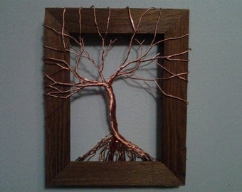 Copper Tree of Life in Wood Frame