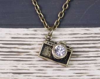 camera necklace, bronze camera charm, crystal lens, photographer gift, photography necklace, photographer, vintage style, best friends gift