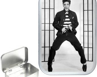 Elvis Jailhouse 1oz silver hinged tobacco tin,pill box,storage tin