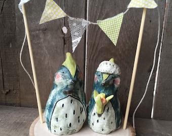 Bird couple wedding cake topper